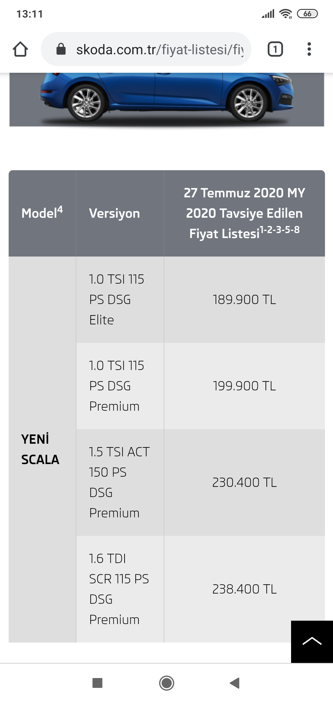 Yeni Skoda Scala Nin Fiyat Listesi Yayinlandi Otopark Com Surucunun Adresi